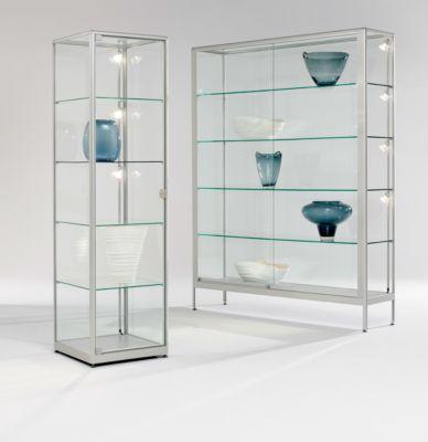 Stand-Präsentationsvitrine, stabiler Aluminium-Rahmen, 500 x 500 x 1800 mm