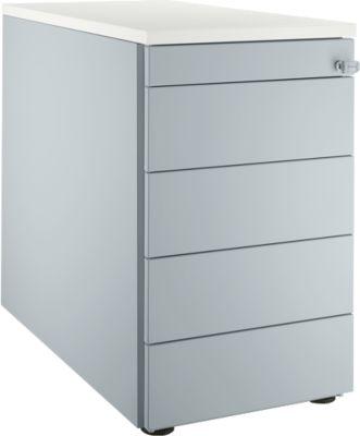 Standcontainer 13333, 5 Schubladen, weißalu/weißalu/weiß