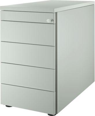 Standcontainer 13333, mit Griffnut, B 435 x T 800 x H 717 mm, lichtgrau/lichtgrau/lichtgrau