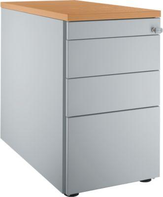 Standcontainer 1336, 4 Schubladen, weißalu/weißalu/Buche-Dekor