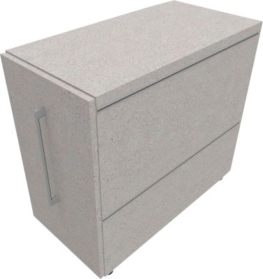 Standcontainer SOLUS PLAY, mit Auszug, Ansatz links, Tiefe 400 mm, Ceramic grey