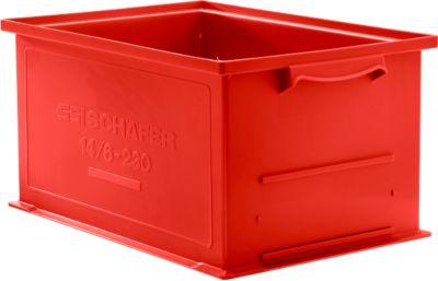 Stapelkasten Serie 14/6-230, aus Polypropylen, mit Griffmulde, Inhalt 26 L, rot