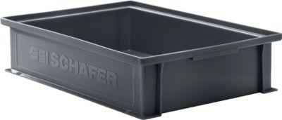 Stapelkasten Serie 14/6-2G, aus PP, ESD-leitfähig, Inhalt 10,3 L, schwarz