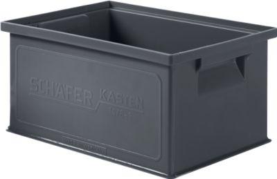 Stapelkasten Serie 14/6-3, aus PP, ESD-leitfähig, Inhalt 7 L, schwarz
