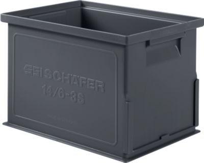 Stapelkasten Serie 14/6-3S, aus PP, ESD-leitfähig, Inhalt 9,3 L, schwarz