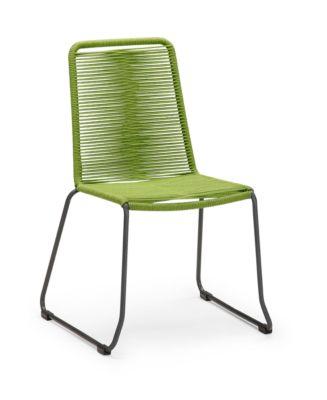Stapelsessel Symi, Retro-Optik, Bespannung im Fishbone-Look, grün