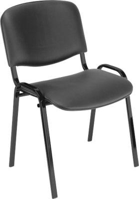 Stapelstoel ISO Basic, imitatieleer, frame zwart