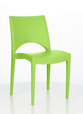 Stapelstoel SOL, ergonomisch gevormd, uv- en weerbestendig, stapelbaar tot 20 stuks, groen