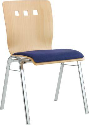 Stapelstuhl 7450, Formsitz, Lordosenstütze, Designerbohrungen, ohne Armlehnen, Bezugsstoff Kashmara, blau