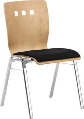 Stapelstuhl 7450, Formsitz, Lordosenstütze, Designerbohrungen, ohne Armlehnen, Bezugsstoff Point/Trevira CS, schwarz