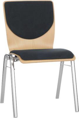 Stapelstuhl 7450, Formsitz, Lordosenstütze, Rückenpolster, ohne Armlehnen, Bezugsstoff Point, schwarz