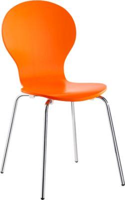 Stapelstuhl CA 445, 4-er Set, verchromtes Stahlrohrgestell, Sitzschale aus Holz, orange