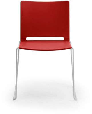 Stapelstuhl ILike, inkl. Kunststoffgleiter, Gestell alugrau lackiert, rot, 4 Stück
