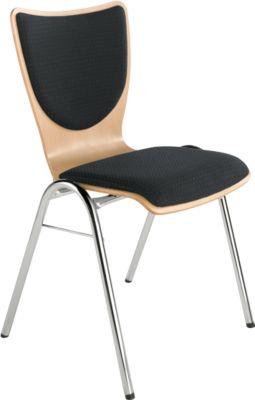 Stapelstuhl, mit Sitz-/Rückenpolster, schwarz