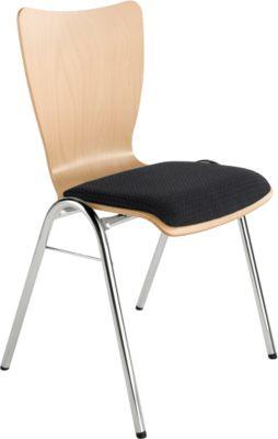 Stapelstuhl, mit Sitzpolster, schwarz