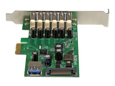 StarTech.com 7 Port PCI Express USB 3.0 Karte - PCIe USB 3.0 (Super Speed) Schnittstellenkarte / Controller 6 x Extern und 1 x Intern - USB-Adapter