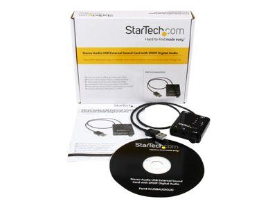 StarTech.com USB Sound Card w/ SPDIF Digital Audio & Stereo Mic – External Sound Card for Laptop or PC – SPDIF Output (ICUSBAUDIO2D) - Soundkarte