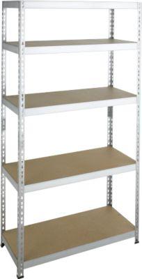 Steckregal Schwerlast, Komplettregal, mit 5 Böden, 1800x920x300 mm, verzinkt