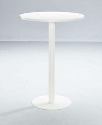 Stehtisch Paperflow, rund, mit Stahlgestell, Säulenfuß, Ø 80 cm, weiß