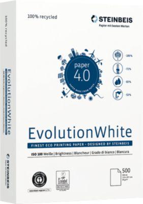 Steinbeis Recyclingpapier EvolutionWhite, A4, 80 g/m², 100er Weiße, 5.000 Blatt