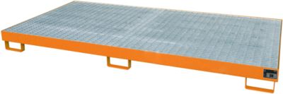 Stellinglekbak type RW-GR 2700-1, L 2650 x B 1300 mm, met rooster, oranje RAL 2000