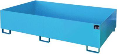 Stellinglekbak type RW-RW 2200-2, L 2150 x B 1300 mm, zonder rooster, blauw RAL 5012