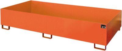 Stellinglekbak type RW-RW 2700-3, L 2650 x B 1300 mm, zonder rooster, oranje RAL 2000