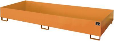 Stellinglekbak type RW-RW 3300-2, L 3250 x B 1300 mm, zonder rooster, oranje RAL 2000