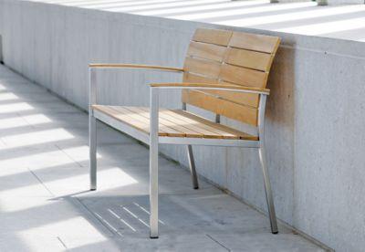 STERN 2-zits Savona bank, weerbestendig, roestvrij stalen frame, teakhouten planken, teakhouten planken