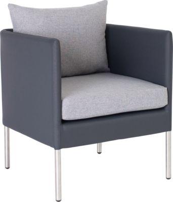 STERN Miguel fauteuil, weerbestendig, roestvrijstaal-look aluminium, stoffen bekleding