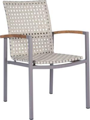 STERN stapelbare fauteuil Lucy, set van 2, aluminium frame, riembekleding