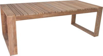 STERN Table Max, Oud Teak, weerbestendig voor binnen en buiten, met sledes