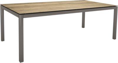 STERN Tisch, Aluminium Vierkantrohr, Platte Silverstar Touch Tundra toffee