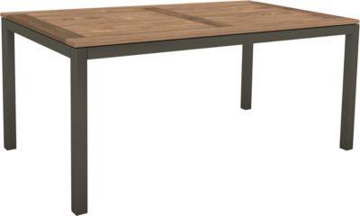 STERN Tisch, Gestell Aluminium Vierkantrohr, Tischplatte Old Teak, wetterfest