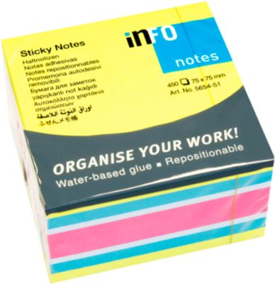 Sticky notes briljant, kubus met 450 vellen, B 75 x H 75 mm, 4 kleuren