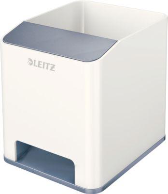 Stiftehalter Leitz WOW Sound, 1 Fach, Smartphone-Fach mit Soundverstärkung, weiß/grau