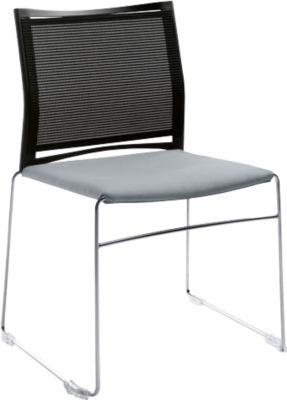 Stoel Ariz, bekleed/net, zwart, z. armleuningen, grijs