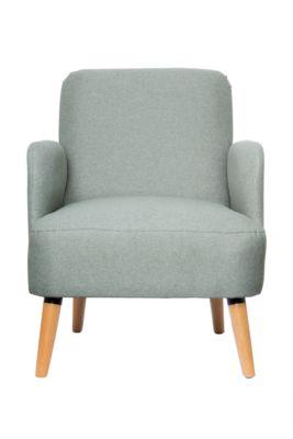 Stoel Paperflow Brooks, massief hout, retro design, gestoffeerd, polyester bekleding, grijs