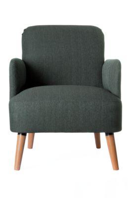 Stoel Paperflow Brooks, massief hout, retro-uitvoering, gestoffeerd, polyester bekleding, antraciet