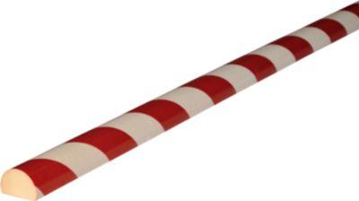 Stootrand type C, in stukken van 1 m, wit/rood