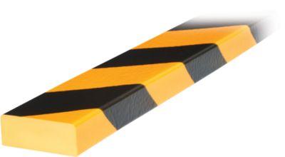 Stootrand type D, in stukken van 1 m, geel/zwart