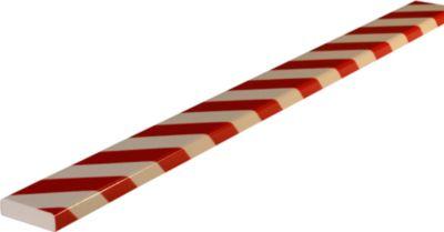 Stootrand type S, in stukken van 1 m, wit/rood