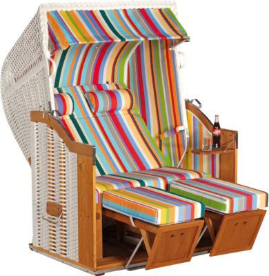 Strandstoel Klassiek, tweezitter, half liggende model, half liggende stoel