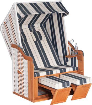 Strandstoel Rustikal 50 Basic, klaar voor montage, wit/blauw