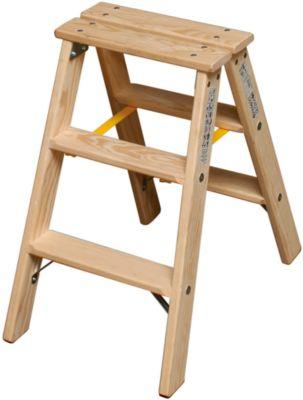 Stufen Doppelleiter, Holz, 2 x 3 Stufen