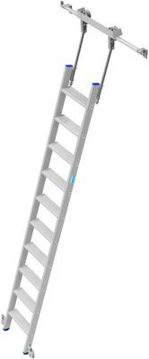 Stufen-Regalleiter, aluminium, fahrbar, 10 Stufen