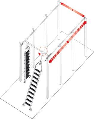 Stufen-Regalleiter, für Doppelregal, drehbar, 8 Stufen