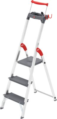 Stufen-Stehleiter Hailo L100, EN 131, mit Multifunktionsschale & Haltebügel, bis 150 kg, 3 Stufen
