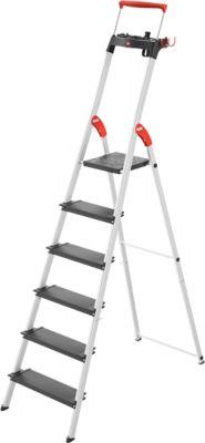 Stufen-Stehleiter Hailo L100, EN 131, mit Multifunktionsschale & Haltebügel, bis 150 kg, 6 Stufen