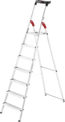 Stufen-Stehleiter Hailo L60, EN 131, mit Multifunktionsschale & Gelenkschutz, bis 150 kg, 7 Stufen